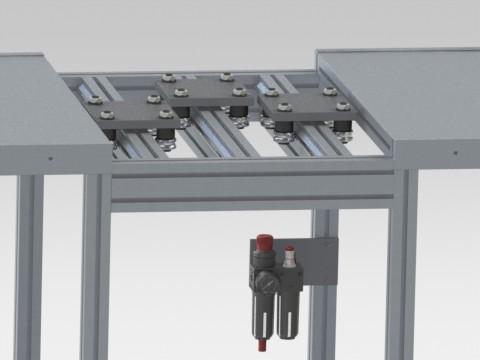 Banco con carrelli porta stampi per produzione zanzariere plissè.
